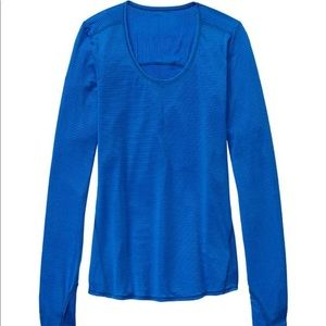 Athleta NWT Striped Chi long sleeve top Macaw Blue